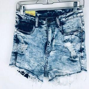 Machine High Waist Acid Wash Shorts